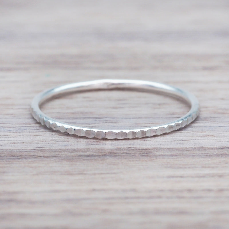 Thin Hammered Stacker Ring. Bohemian Jewellery. Indie and Harper
