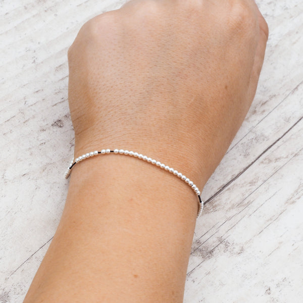 Thin Silver Cord Bracelet. Bohemian Jewellery. Indie and Harper