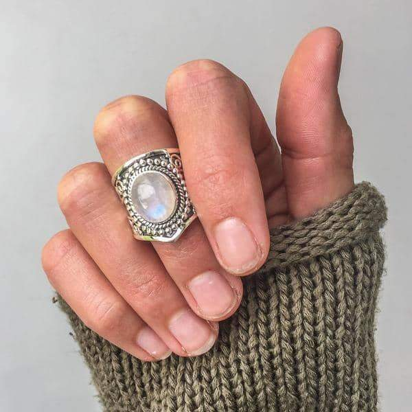 Tribal Moonstone Ring - Indie and Harper. Bohemian Gypsy Festival Jewellery. www.indieandharper.com