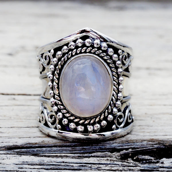Tribal Moonstone Ring. Bohemian Jewellery. Indie and Harper