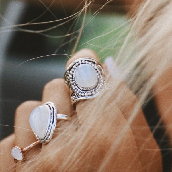 Tribal Moonstone Ring - Indie and Harper. Bohemian Gypsy Festival Jewellery.