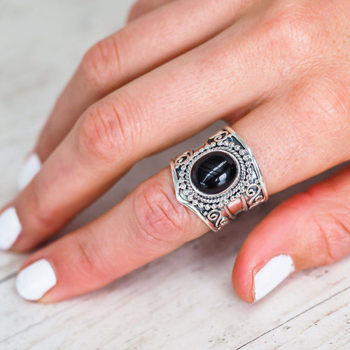 tribal onyx ring -  bohemian festival jewellery - indie and harper