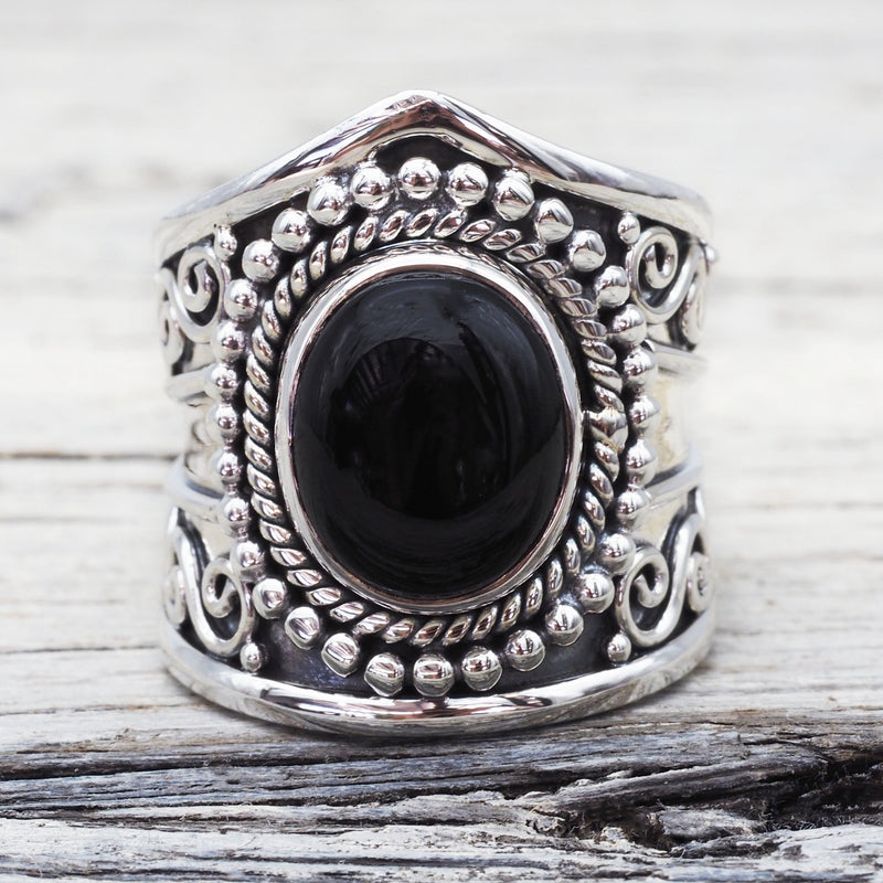 Tribal Onyx Ring. Bohemian Jewellery. Indie and Harper