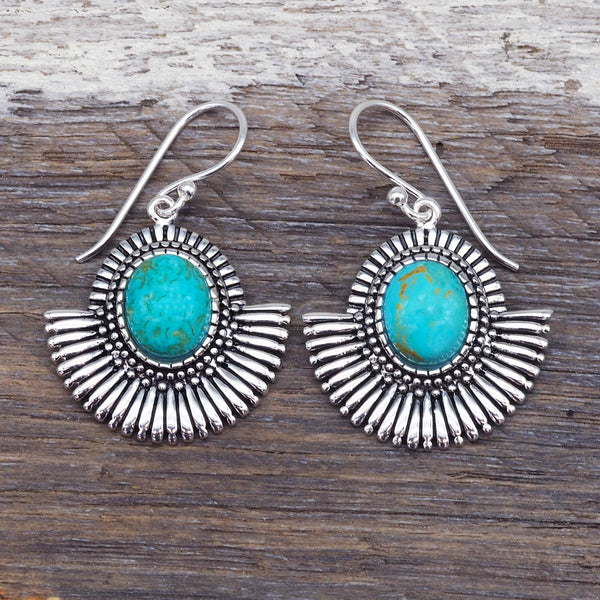 Tribal Turquoise Fan Earrings. Bohemian Jewellery. Indie and Harper