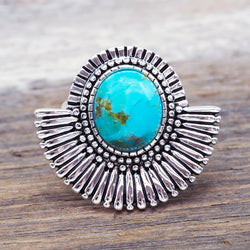 Tribal Turquoise Fan Ring. Bohemian Jewellery. Indie and Harper