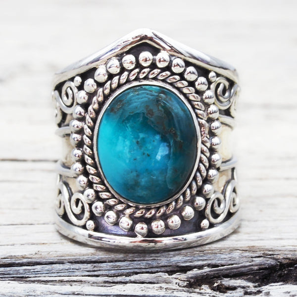 Tribal Turquoise Ring. Bohemian Jewellery. Indie and Harper