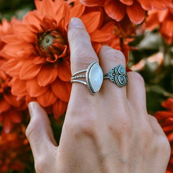 Triple Band Moonstone Ring. Bohemian Jewellery. Indie and Harper