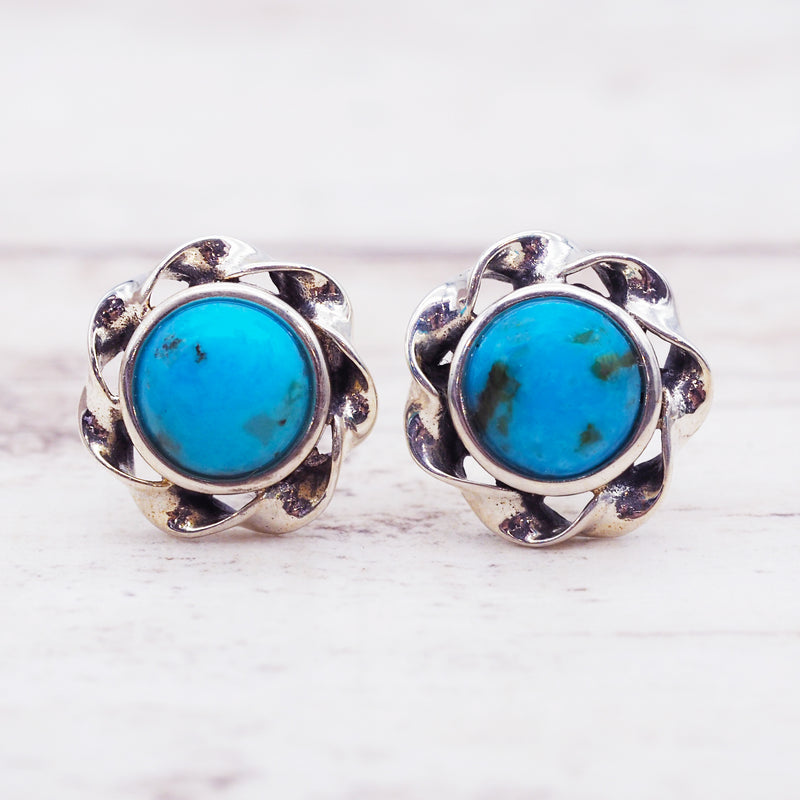 Turquoise Twist Studs - Women's Jewellery - Indie and Harper