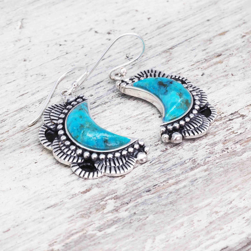 Turquoise Flower Crescent Earrings. Bohemian Gypsy Festival Jewellery. Indie and Harper