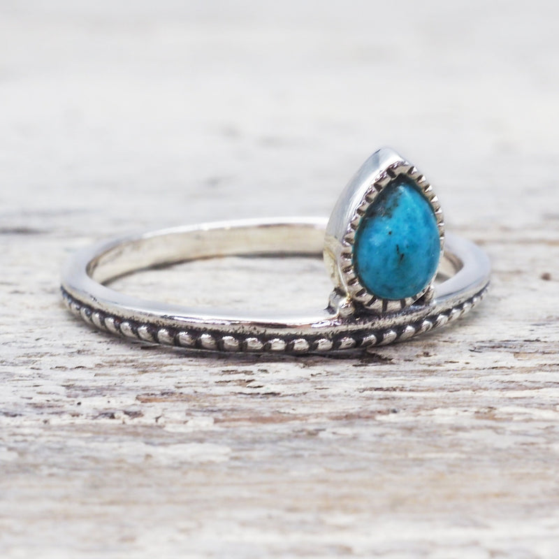 Turquoise Petal Ring. Bohemian Jewellery. Indie and Harper