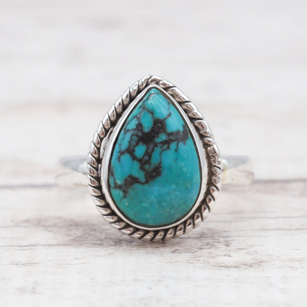 Turquoise Tear Drop Twist Ring