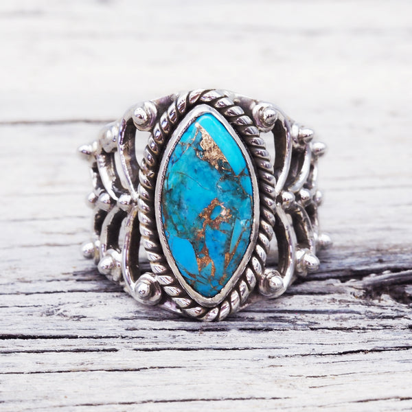 Turquoise Vine Ring. Bohemian Jewellery. Indie and Harper