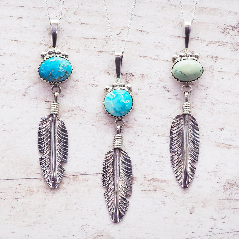 Turquoise and Feather Navajo Necklace. Women's Jewellery. Indie and Harper