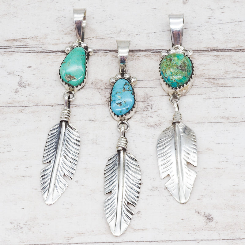 Turquoise and Feather Navajo Necklace. Bohemian Jewellery. Indie and Harper