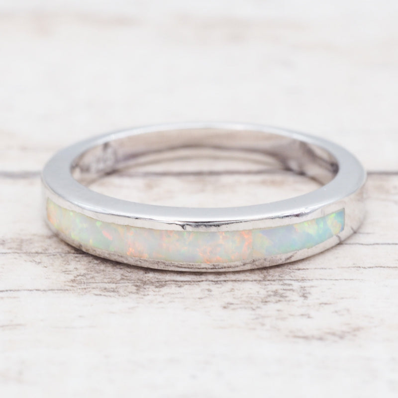 White Opal Band Ring. Bohemian Jewellery. Indie and Harper