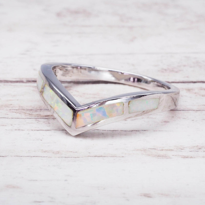 White Opal Chevron Ring. Bohemian Jewellery. Indie and Harper