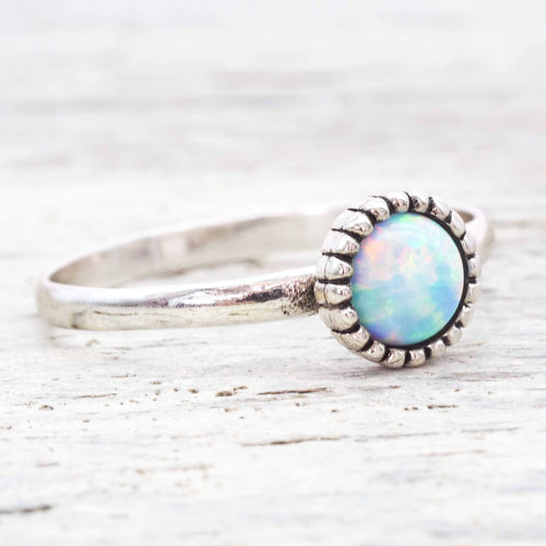 White Opal Flower Ring | Bohemian Gypsy Festival Jewellery | Indie and Harper
