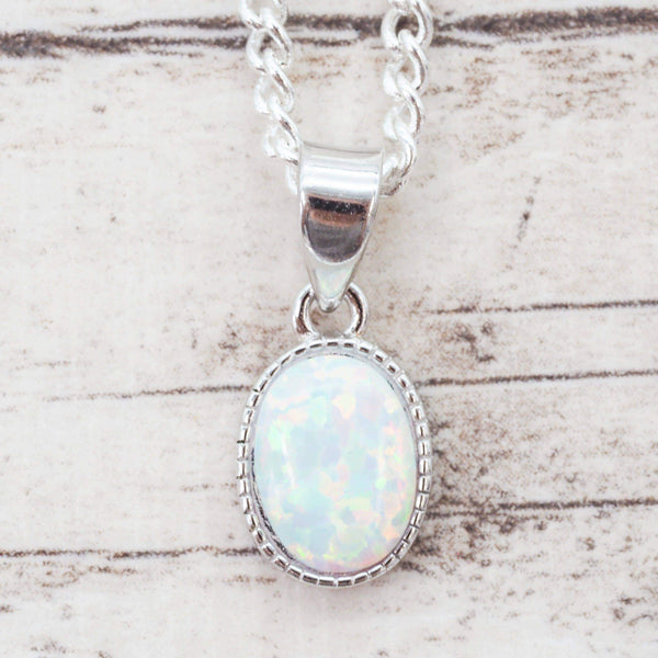 White Opal Oval Pendant | Bohemian Gypsy Festival Jewels | Indie and Harper