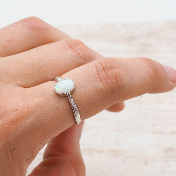 White Opal Oval Ring. Bohemian Jewellery. Indie and Harper