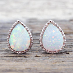 White Opal Rain Drop Earrings. Bohemian Jewellery. Indie and Harper