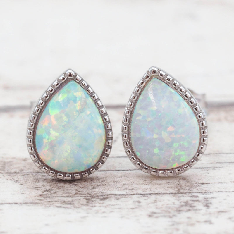 White Opal Rain Drop Earrings