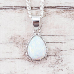 White Opal Rain Drop Pendant. Bohemian Jewellery. Indie and Harper