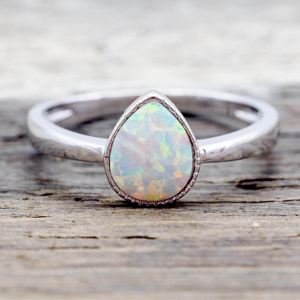 White Opal Rain Drop Ring. Bohemian Jewellery. Indie and Harper