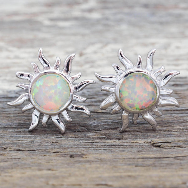 White Opal Sun Earrings. Bohemian Jewellery. Indie and Harper