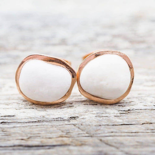 White Pebble and Rose Gold Earrings | Bohemian Festival Gypsy Jewellery | Indie and Harper