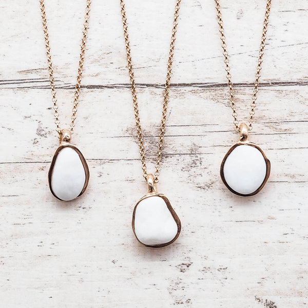 White Pebble and Rose Gold Necklace. Bohemian Jewellery. Indie and Harper