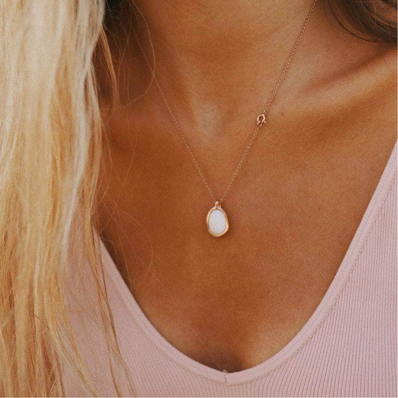 White Pebble and Rose Gold Necklace | Bohemian Gypsy Festival Jewels | Indie and Harper