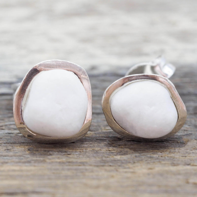 White Pebble and Sterling Silver Earrings. Bohemian Jewellery. Indie and Harper