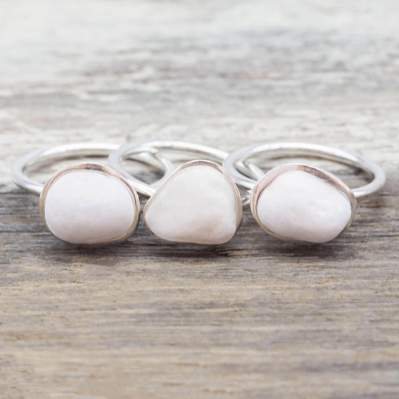 White Pebble and Sterling Silver Ring | Bohemian Gypsy Festival Jewellery | Indie and Harper