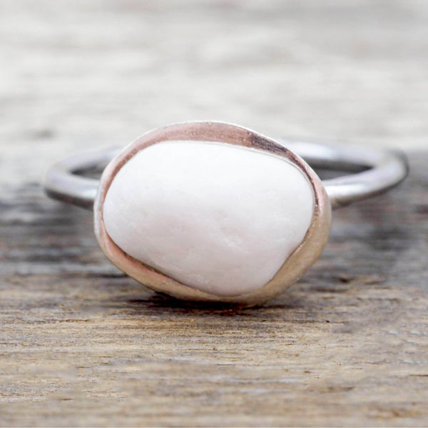 White Pebble and Sterling Silver Ring. Bohemian Jewellery. Indie and Harper