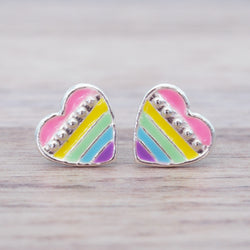 i+h Kids Rainbow Heart Studs - Kids Jewellery - Indie and Harper