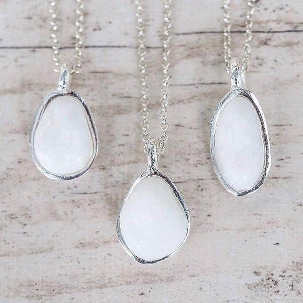 White Pebble and Sterling Silver Necklace