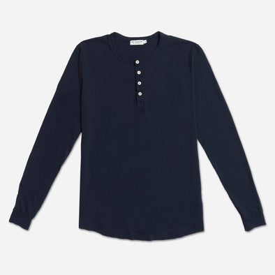 "Long Sleeve ""Supima"" Cotton Henley - Navy"