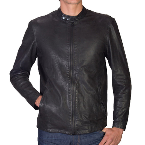Super Soft Leather Cafe Racer Jacket