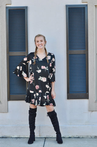 Black Flower Print Dress w/ Bell Sleeve