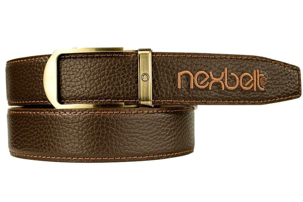 "Nexbelt Dress Belt Fits up to 45"" waist / Brown PGA Tour Tobacco"