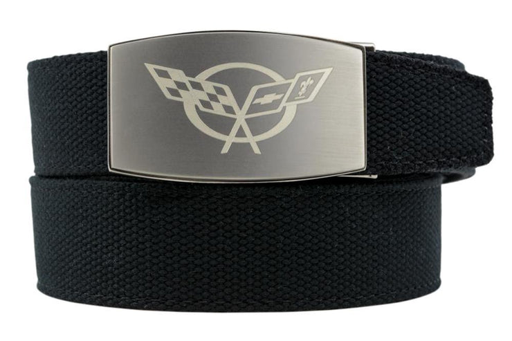 "Nexbelt Belt Black / Fits up to 50"" waist GM C5 Pewter Aston Black Canvas Strap Ratchet Belt"