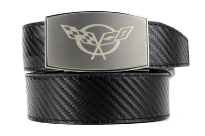 "Nexbelt Belt Black / Fits up to 45"" waist GM C5 Pewter Aston Black Carbon Fiber Ratchet Belt"