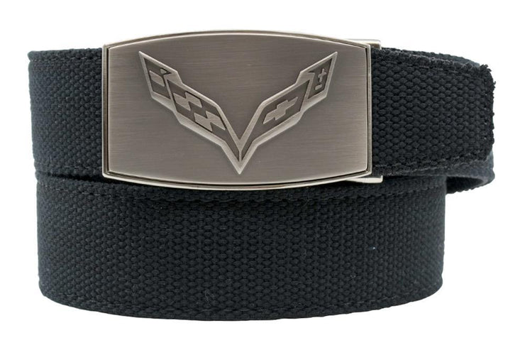 GM C7 Pewter Embossed Aston Black Canvas Strap Ratchet Belt