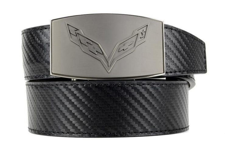 "Nexbelt Belt Black / Fits up to 50"" waist GM C7 Pewter Embossed Aston Black Strap Ratchet Belt"