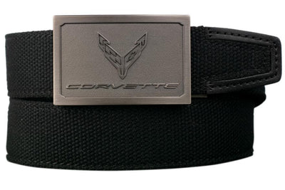 "Nexbelt Belt Black / Fits up to 50"" waist GM C8  Pewter Embossed Logo Black Canvas Strap Ratchet Belt"
