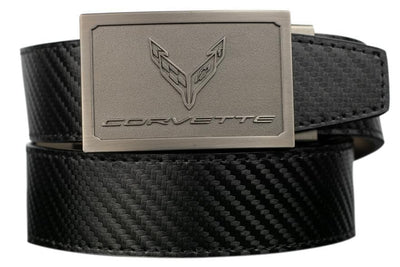 "Nexbelt Belt Black / Fits up to 50"" waist GM C8 Pewter Embossed Logo Carbon Fiber Strap Ratchet Belt"