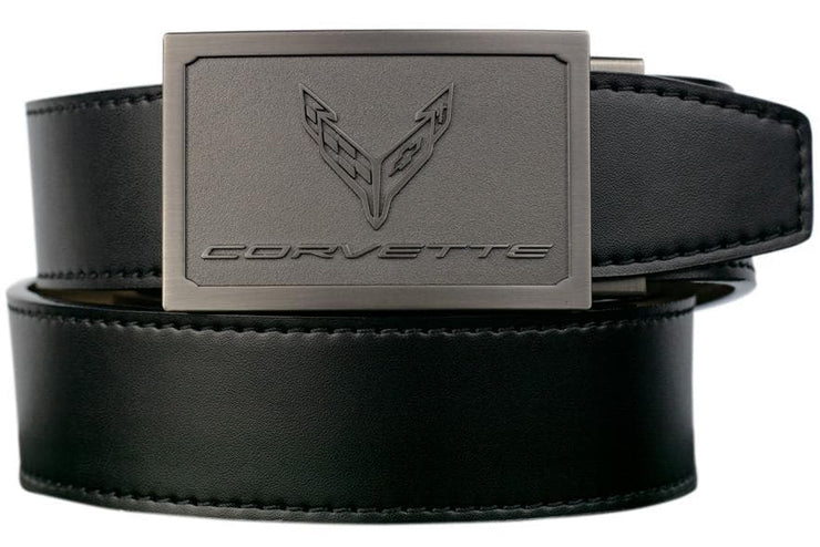 "Nexbelt Belt Black / Fits up to 45"" waist GM C8  Pewter Embossed Logo Black Leather Strap Ratchet Belt"