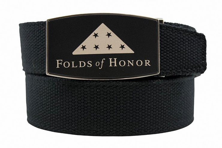 "Nexbelt Belt Black / Fits up to 50"" waist Folds Of Honor Black Aston Black Canvas Strap"