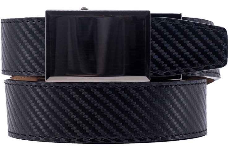 "Nexbelt Belt Black / Fit up to a 45"" waist Gunmetal Black Carbon Fiber Dress Belt"