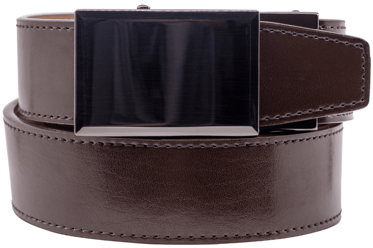 "Nexbelt Belt Brown / Fit up to a 45"" waist Gunmetal Espresso Dress Belt"